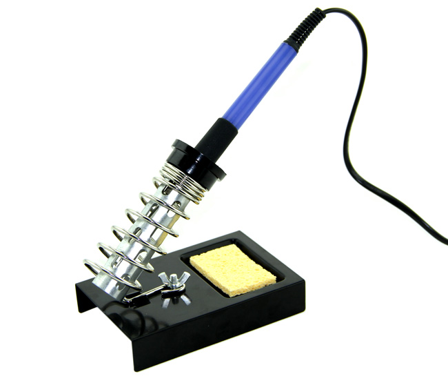 soldering iron in stand